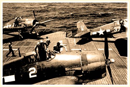 Butch Climbing in Hellcat USS Hornet 1944